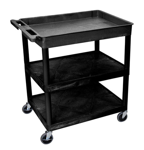 Luxor TC122-B 3 Shelf Large Black Tub Cart - Peazz.com