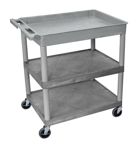Luxor TC122-G 3 Shelf Large Gray Tub Cart - Peazz.com