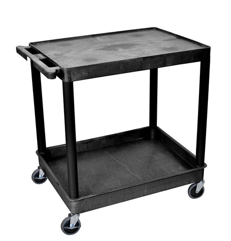 Luxor TC21-B 2 Shelf Large Black Tub Cart - Peazz.com