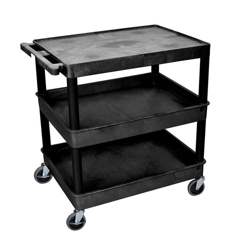 Luxor TC211-B 3 Shelf Large Black Tub Cart - Peazz.com