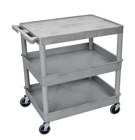 Luxor TC211-G 3 Shelf Large Gray Tub Cart - Peazz.com