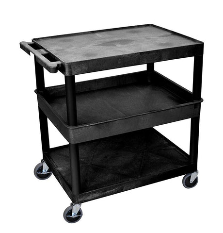 Luxor TC212-B 3 Shelf Large Black Tub Cart - Peazz.com