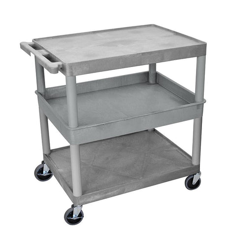 Luxor TC212-G 3 Shelf Large Gray Tub Cart - Peazz.com