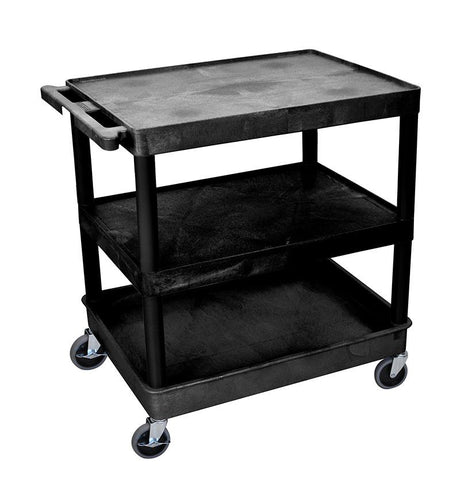 Luxor TC221-B 3 Shelf Large Black Tub Cart - Peazz.com
