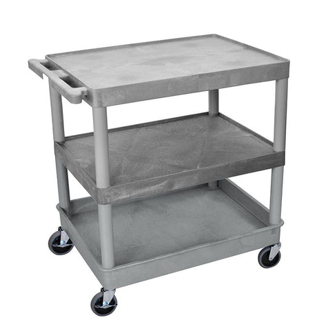 Luxor TC221-G 3 Shelf Large Gray Tub Cart - Peazz.com