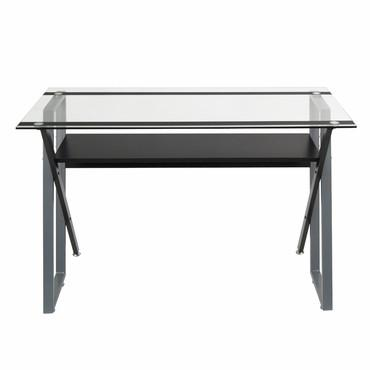 "Studio Designs 50707 Colorado 48"" Desk/ Black/ Silver/ Clear Glass - Peazz.com"