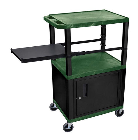 H Wilson WTPSP42HGC2E-B Wilson Tuffy Hunter Green 3 Shelf With Black Legs, Cabinet & Side Pull-out Shelf Presentation Station - Peazz.com