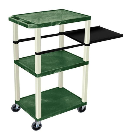 H Wilson WTPSP42HGE H Wilson Tuffy Hunter Green 3 Shelf With Putty Legs & Black Side Pull-out Shelf Presentation Station - Peazz.com