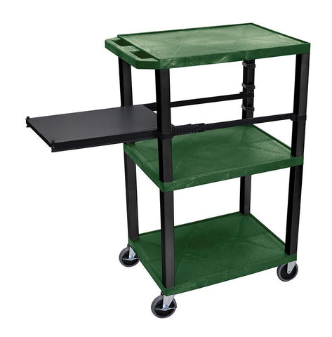 H Wilson WTPSP42HGE-B H Wilson Tuffy Hunter Green 3 Shelf With Black Legs & Side Pull-out Shelf Presentation Station - Peazz.com
