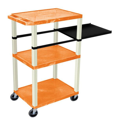 H Wilson WTPSP42ORE H Wilson Tuffy Orange 3 Shelf With Putty Legs & Black Side Pull-out Shelf Presentation Station - Peazz.com