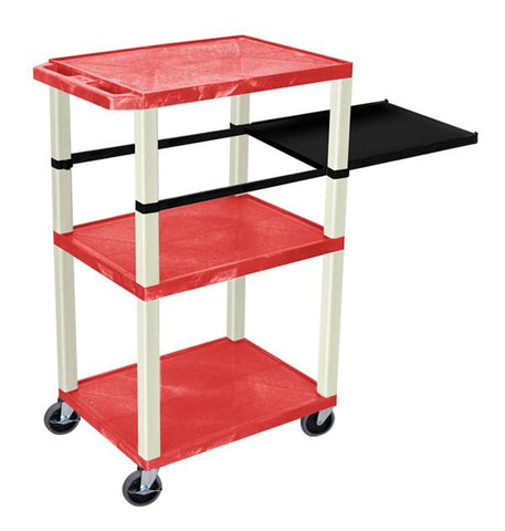 H Wilson WTPSP42RE H Wilson Tuffy Red 3 Shelf With Putty Legs & Black Side Pull-out Shelf Presentation Station - Peazz.com