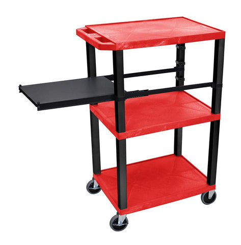 H Wilson WTPSP42RE-B H Wilson Tuffy Red 3 Shelf With Black Legs & Side Pull-out Shelf Presentation Station - Peazz.com