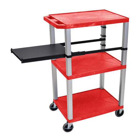 H Wilson WTPSP42RE-N H Wilson Tuffy Red 3 Shelf With Nickel Legs & Black Side Pull-out Shelf Presentation Station - Peazz.com