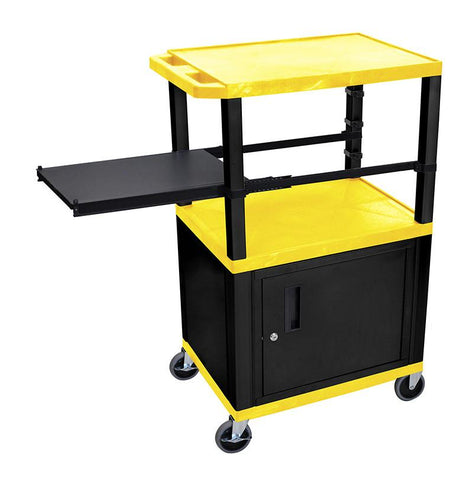 H Wilson WTPSP42YC2E-B H Wilson Tuffy Yellow 3 Shelf With Black Legs, Cabinet &  Side Pull-out Shelf Presentation Station - Peazz.com