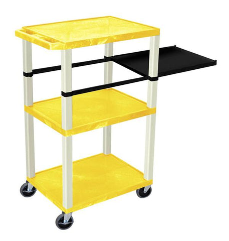 H Wilson WTPSP42YE H Wilson Tuffy Yellow 3 Shelf With Putty Legs & Black Side Pull-out Shelf Presentation Station - Peazz.com