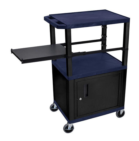 H Wilson WTPSP42ZC2E-B H Wilson Tuffy Navy Blue 3 Shelf With Black Legs, Cabinet &  Side Pull-out Shelf Presentation Station - Peazz.com