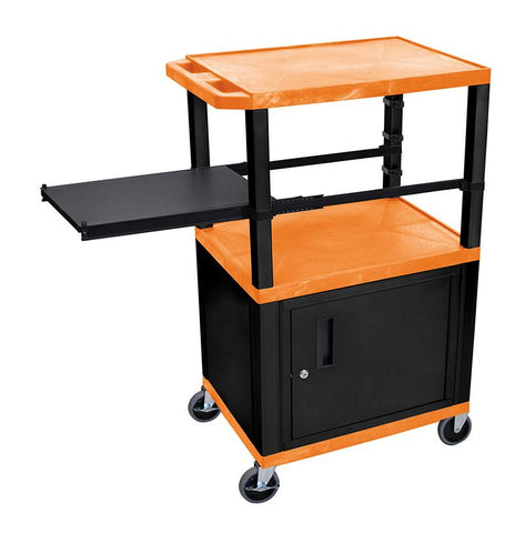 H Wilson WTPSP42ORC2E-B H Wilson Tuffy Orange 3 Shelf With Black Legs, Cabinet & Side Pull-out Shelf Presentation Station - Peazz.com