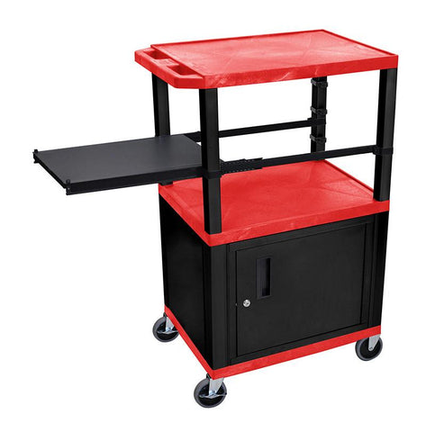 H Wilson WTPSP42RC2E-B H Wilson Tuffy Red 3 Shelf With Black Legs, Cabinet &  Side Pull-out Shelf Presentation Station - Peazz.com