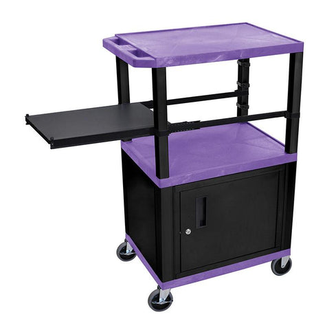 H Wilson WTPSP42PC2E-B H Wilson Tuffy Purple 3 Shelf With Black Legs, Cabinet &  Side Pull-out Shelf Presentation Station - Peazz.com