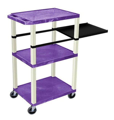 H Wilson WTPSP42PE H Wilson Tuffy Purple 3 Shelf With Putty Legs & Black Side Pull-out Shelf Presentation Station - Peazz.com