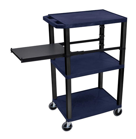 H Wilson WTPSP42ZE-B H Wilson Tuffy Navy Blue 3 Shelf With Black Legs & Side Pull-out Shelf Presentation Station - Peazz.com