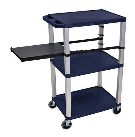 H Wilson WTPSP42ZE-N H Wilson Tuffy Navy Blue 3 Shelf With Nickel Legs & Black Side Pull-out Shelf Presentation Station - Peazz.com
