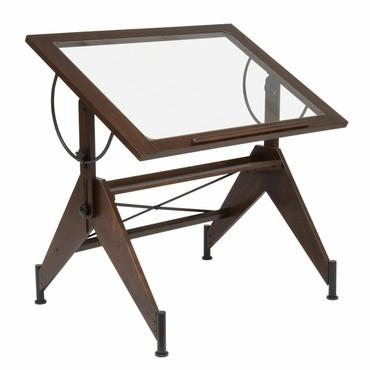 Studio Designs 13310 Aries Glass Top Drafting Table Dark / Walnut / Black - Peazz.com