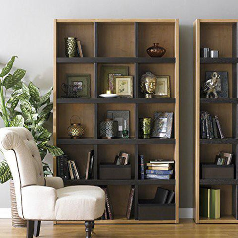 Boraam 90560 Techny Collection Scully Bookcase, Maple/Espresso - Peazz.com