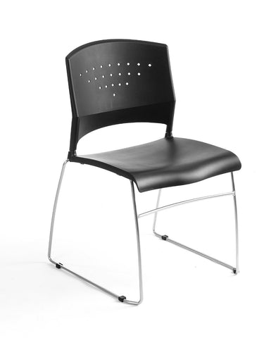 Boss Office Products B1400-BK-5 Boss Black Stack Chair With Chrome Frame 5 Pcs Pack - Peazz.com