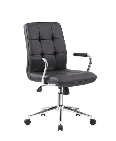 Boss Office Products B331-BK Modern Office Chair w/Chrome Arms - Black - Peazz.com
