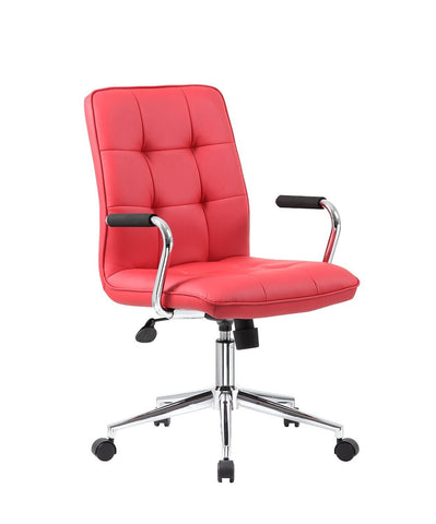Boss Office Products B331-RD Modern Office Chair w/Chrome Arms - Red - Peazz.com