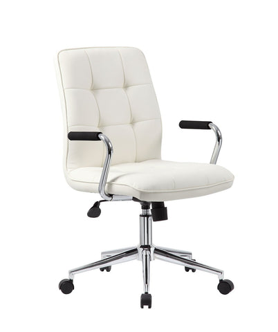 Boss Office Products B331-WT Modern Office Chair w/Chrome Arms- White - Peazz.com