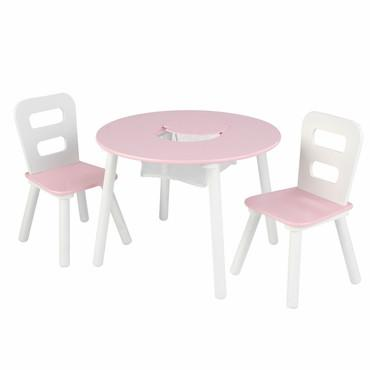 KidKraft 26165 Round Storage Table & Chair Set - White & Pink - Peazz.com