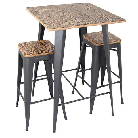 LumiSource B-OR3PC BN+GY Oregon Pub Set - Set - BarstoolDirect.com