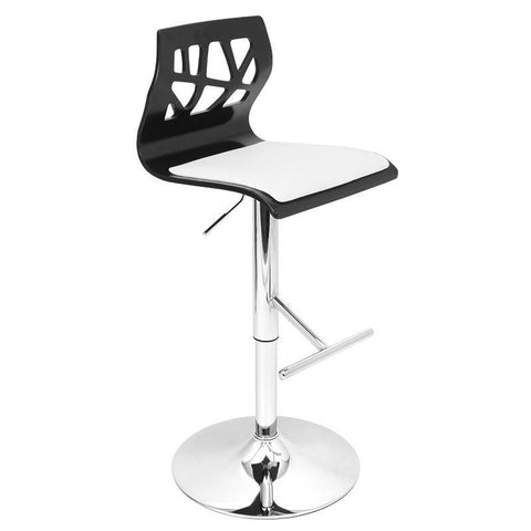 LumiSource BS-JY-FL BK+W Folia Bar Stool - BarstoolDirect.com