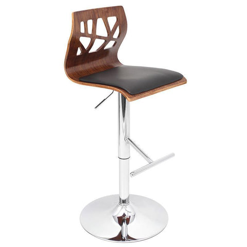 LumiSource BS-JY-FL WAL+BK Folia Bar Stool - BarstoolDirect.com