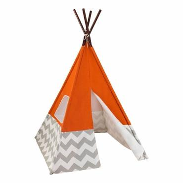 KidKraft 213 Play TeePee - Orange w/ Gray & White Chevron - Peazz.com