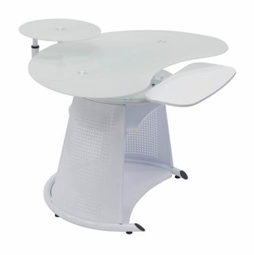 Studio Designs 50352 Neptune Computer Desk / White / White Glass - Peazz.com