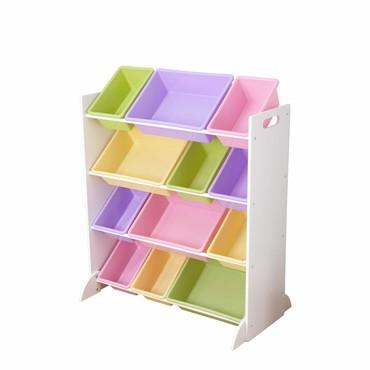 KidKraft 15450 Sort It & Store It 12 Bin Unit Ð White with Pastel Bins - Peazz.com