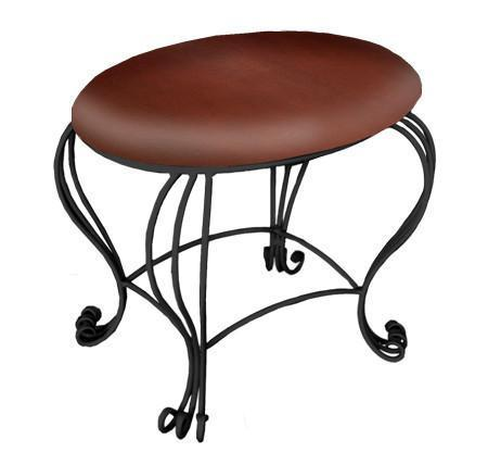 Stone County Ironworks 900-248-LPC Scroll Vanity Stool - BarstoolDirect.com