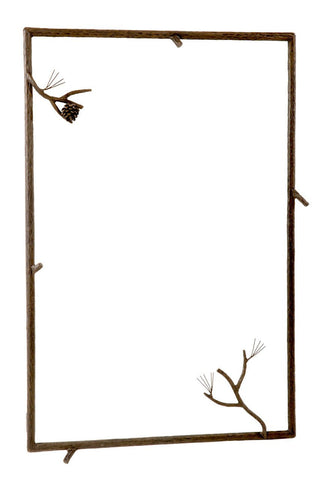 Stone County Ironworks 905-117-SML Pine Iron Wall Mirror (hand rubbed bronze) - Peazz.com