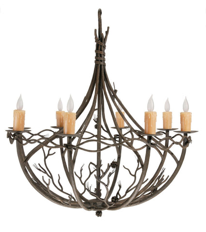 Stone County Ironworks 904-143 Pine 8 Arm Chandelier ( natural bark) - Peazz.com