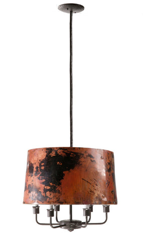Stone County Ironworks 904-209 Cedarvale 6 Arm Pendant Lamp (Copper Shade) - Peazz.com