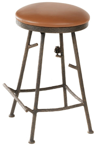 "Stone County Ironworks 904-214-LTN Pine Barstool (No Back) 25"" (with swivel)(with natural bark) - BarstoolDirect.com"