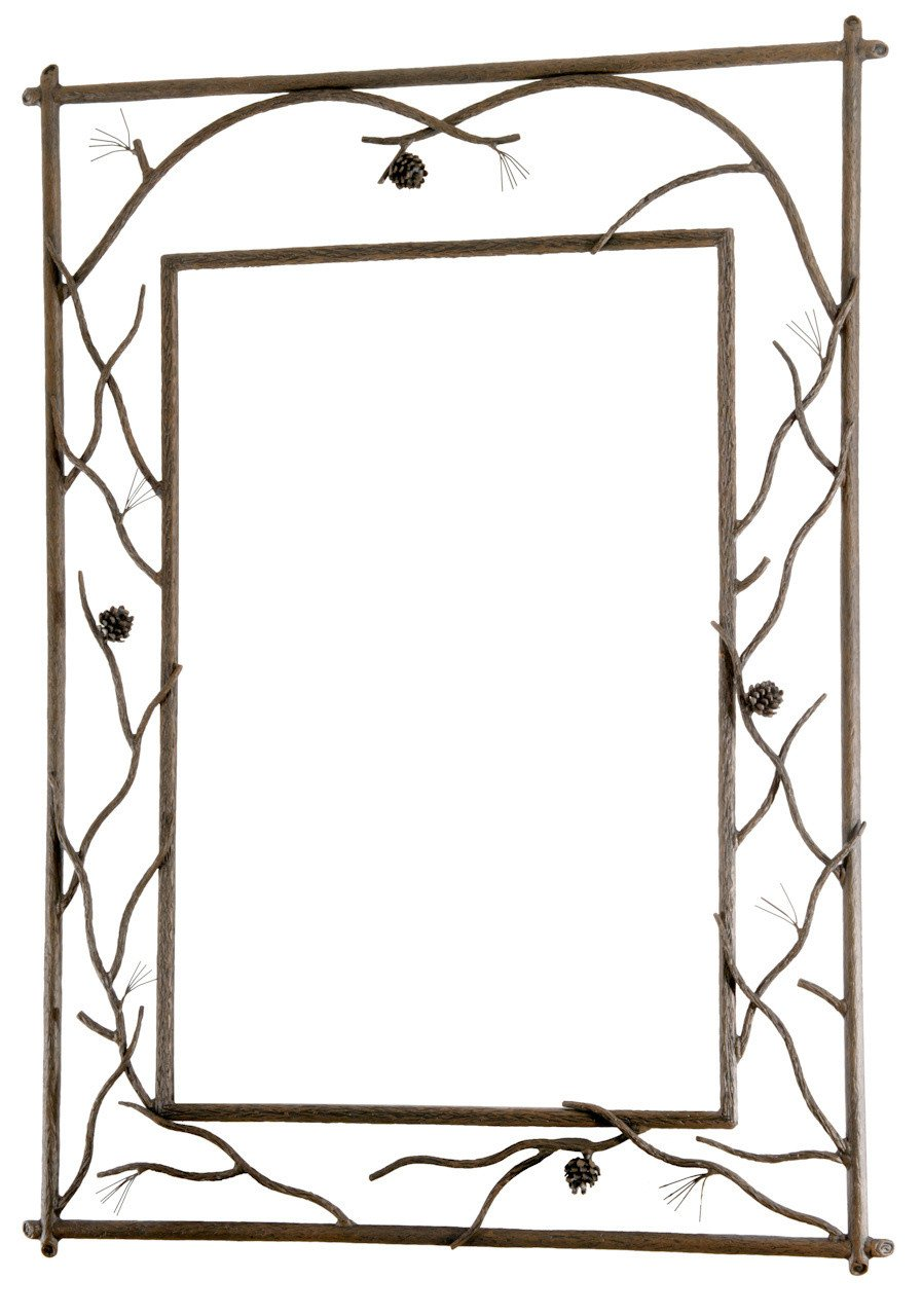 Branched Wall Mirror Large Natural Bark Pine 436 Product Photo
