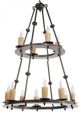 Stone County Ironworks 904-245 Nova 12 Light Two-Tier Chandelier - Peazz.com