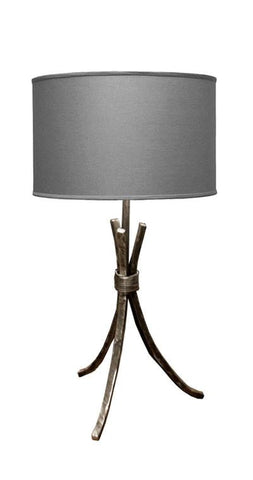 "Stone County Ironworks 906-043 Studio Lamp Table (natural iron w/ charcoal shade) 18"" height - Peazz.com"