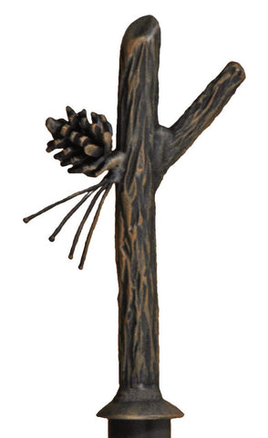 Stone County Ironworks 907-032 Iron Curtain Finial Pine (rustic bark finish) - Peazz.com