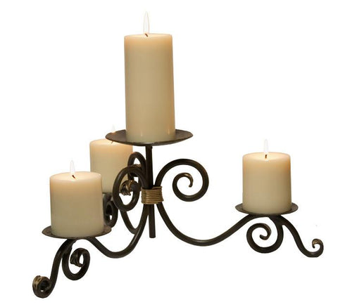 Stone County Ironworks 907-200 Stratford Iron Candle Holder (hand rubbed bronze w/ gold accents) - Peazz.com