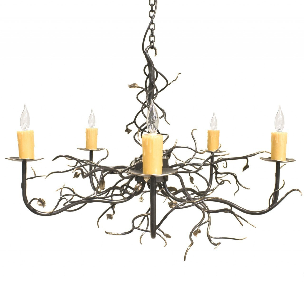 Stone County Gate Arm Chandelier Gold Accents Garden